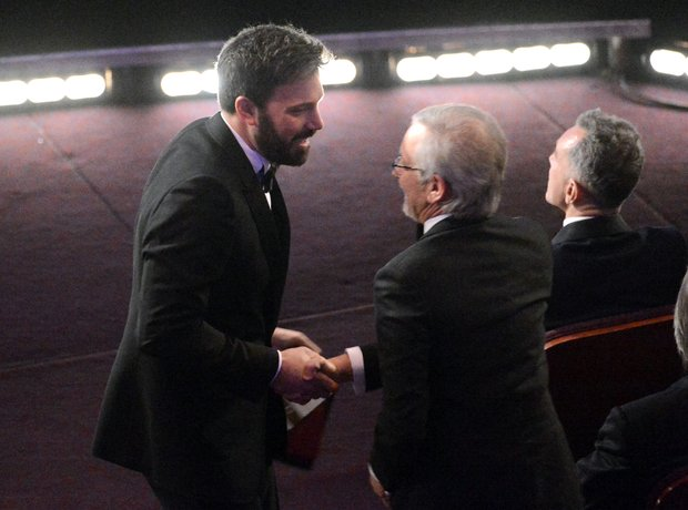 Ben Affleck and Steven Spielberg Oscars 2013 award