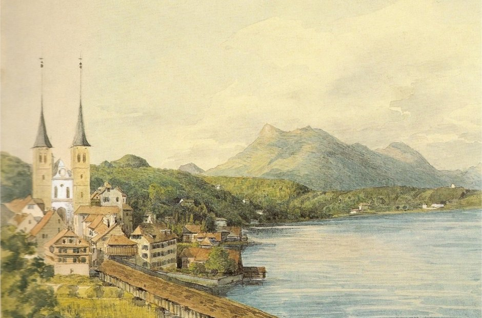 Mendelssohn watercolour Lake Lucerne